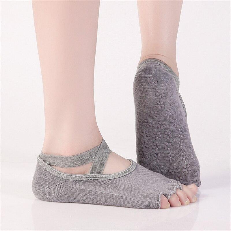 50 pairs/lot Women Professional Socks combed cotton straps ballet  five fingers socks anti-skid socks