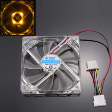 Mokingtop 2018 Mini Small Computer Fan Orange Quad 4-LED Light Neon Clear 120mm PC Computer Case Cooling Fan Mod#25(China)
