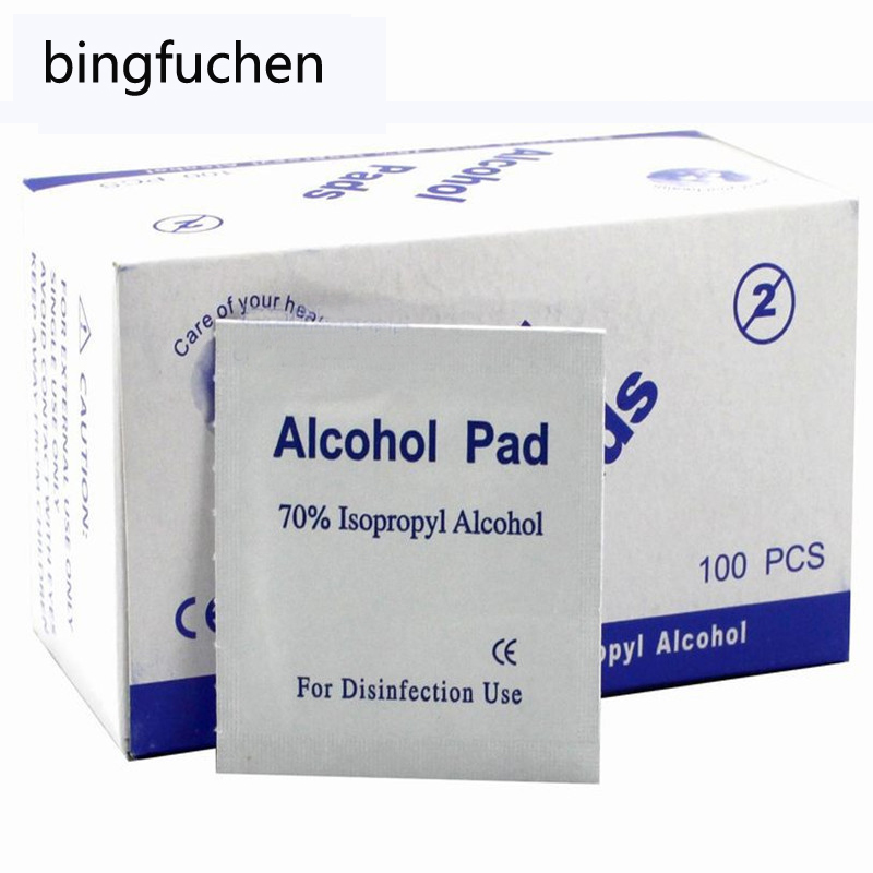 100pcs/lot Portable 100pcs/Box Alcohol Swabs Pads Wipes Antiseptic Cleanser Cleaning Sterilization First Aid Home Makeup New(China)