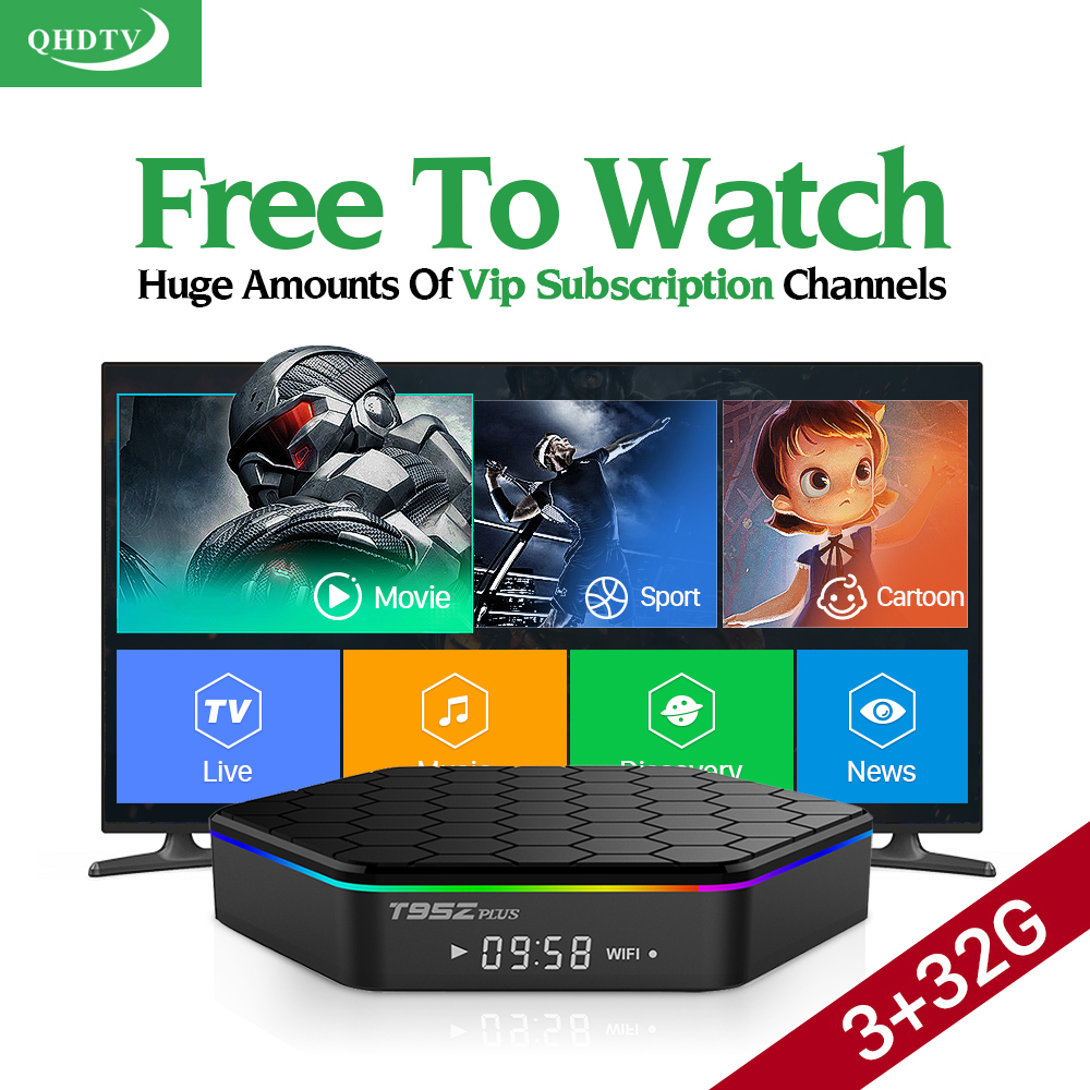 Dalletektv T95Zplus Android 6.0 Smart TV Box Amlogic S912 3G 32G 4K IPTV 1 Year QHDTV Subscription Arabic Europe UK IPTV Box мобильный телефон t smart smart g18 3g 200