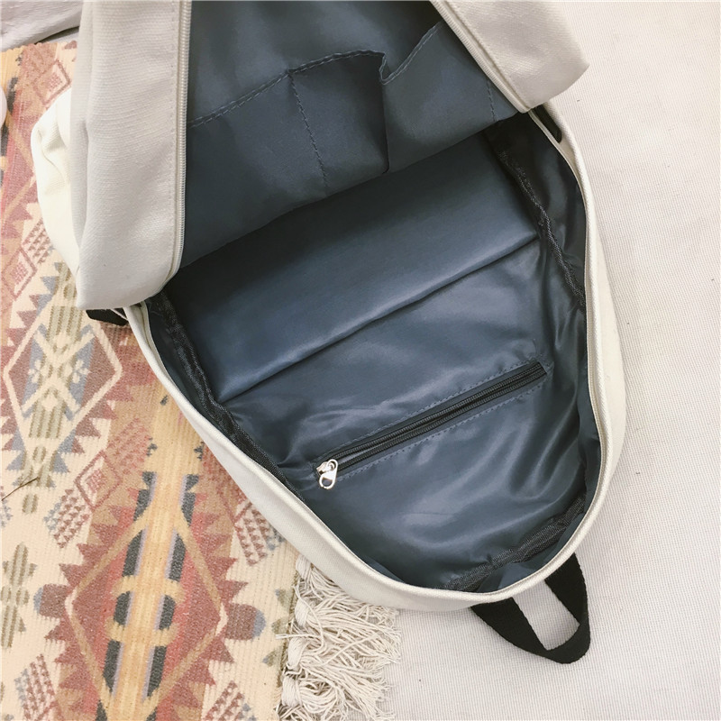 Menghuo Women Canvas Backpack Solid Casual School Bag for Teenagers Boys Backpack Korean Preppy Style Rucksack Mochilas Feminina