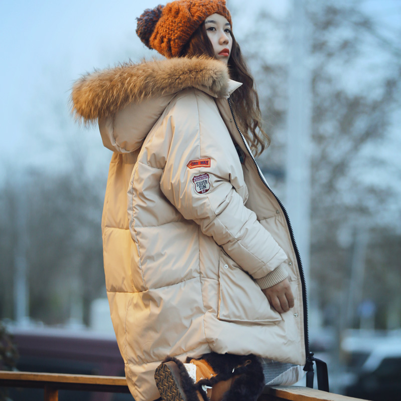 [MAIXU] wheat original hat raccoon fur Lingchao feather padded clothes girls warm thick bread long дартс wheat too mt2145