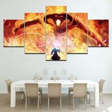 Miglior Signore Degli Anelli Gandalf Hero 5 Carte Da Parati moderne pannello Modulare Poster arte della Tela di Canapa pittura per Living Room Home Decor