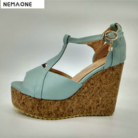 2017 New Women Sandals High Wedges Heel Sandals Women T Strap Women Shoes Platform Shoes Woman