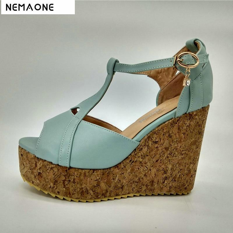 NEMAONE 2019 New women sandals high wedges heel sandals women T-strap women shoes platform shoes woman stylish women s sandals with t strap and platform design