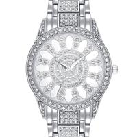 Hot Wrist Watch for Women Luxury Quartz Crystal Dial Alloy Bracelet Fashion IP Rhodium Gold Color Wholesale