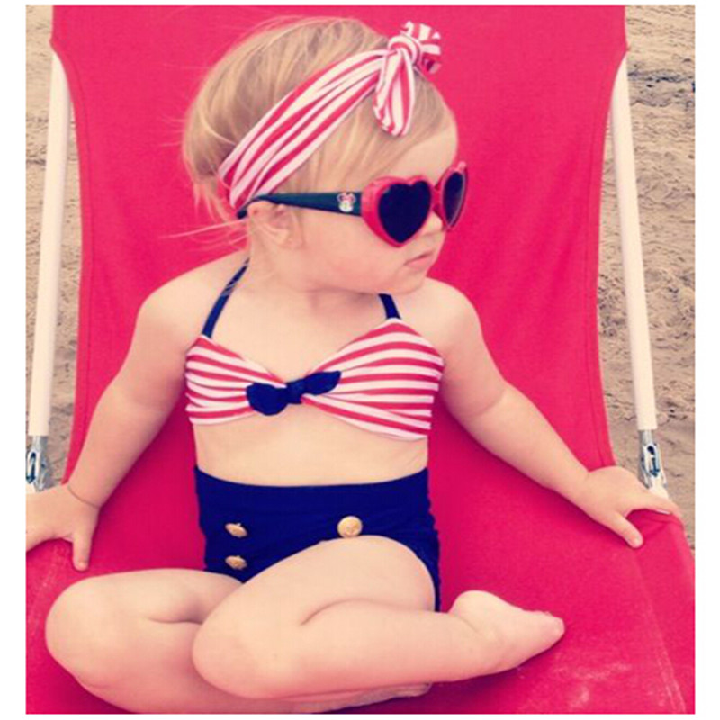 1-8Year Cute baby little girls rain bow Fringe string Bikini swim bathing suit for kid high waist Swimwear sea Biquini infantils