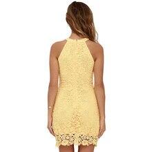 Short Halter Neck Sleeveless Sheath Bodycon Lace Dress