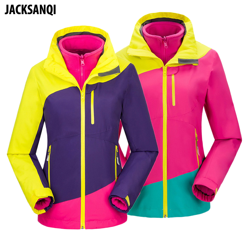 JACKSANQI Winter 2018 Women Fleece 2 Pieces Jackets Outdoor Thermal Windbreaker Camping Skiing Trekking Female Thick