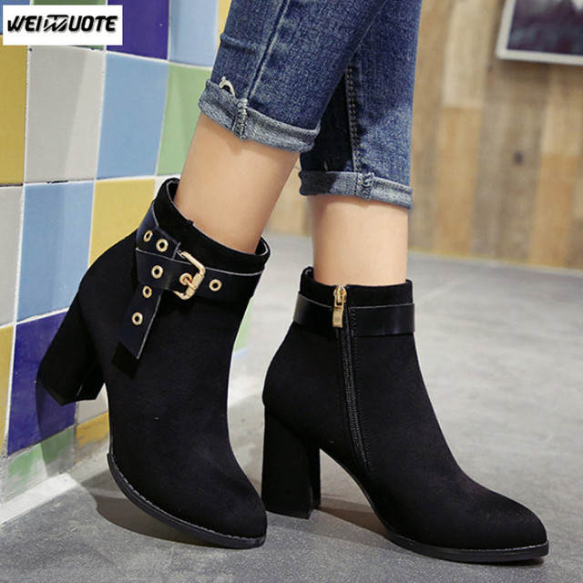 df18eb89395 US $22.88 |WEINUOTE Autumn Winter Fashion Ladies Wild Belt Buckle Martin  Boots Women Thick Heel Suede Short Boots Casual Ankle Boots Botas-in Ankle  ...