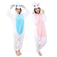 Unisex Adult Pajamas Unicorn Cartoon Cosplay Costume Animal Onesie Flannel Woman Sleepwear Suit Gift