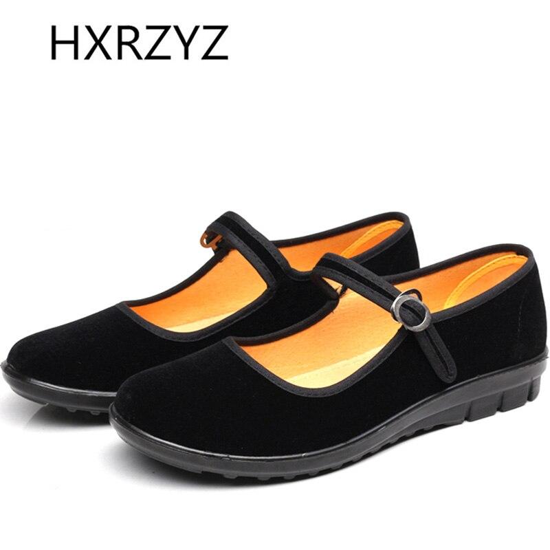 Mujer en zapatos negros de Mary Jane etiqueta plana cómoda / envío libre en prim