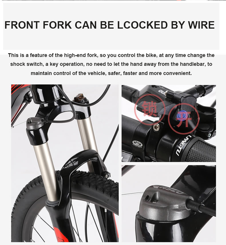 Bicycle 26x17 Inch Electric Mountain Bike Oil Hydraulic Disc Brake Lockable Shock Front Fork Bafang Front Drive Motor Smart Sensor Ebike Cheap Sales