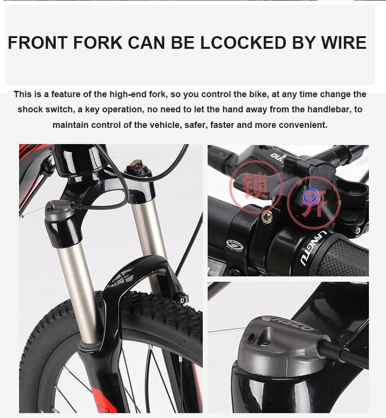 Cycling 26x17 Inch Electric Mountain Bike Oil Hydraulic Disc Brake Lockable Shock Front Fork Bafang Front Drive Motor Smart Sensor Ebike Cheap Sales