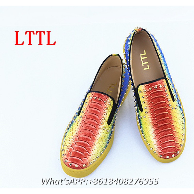 LTTL 2017 Fashion Men Shoes Spring & Autumn Platform Mixed Color Men Loafers Flats Slip On Casual Shoes Men Rainbow Rivet Shoe
