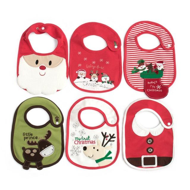 Christmas baby bib 3 layers Waterproof Baby Girl Boy Cartoon Towel Kids Toddler Dinner Feeding 0-2 Years baby gift Accessories