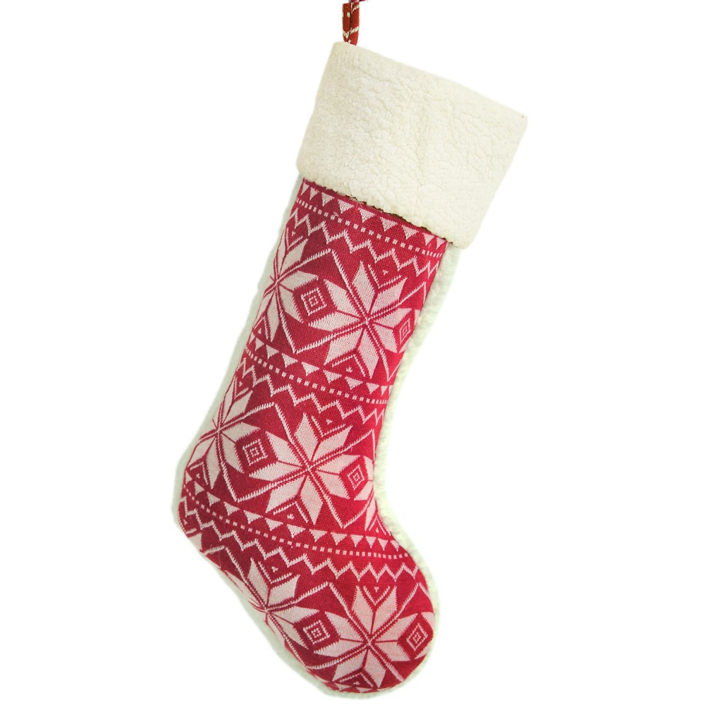 Fine Knitted Snowflake Burgundy Christmas Stocking Christmas tree ...