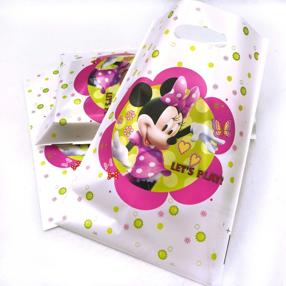10pcs Hot Light Pink Minnie Mouse Gift Loot Bags Ideas Cheap 1st Birthday Party Items Supplies Candy Paper Decorations In Wrapping
