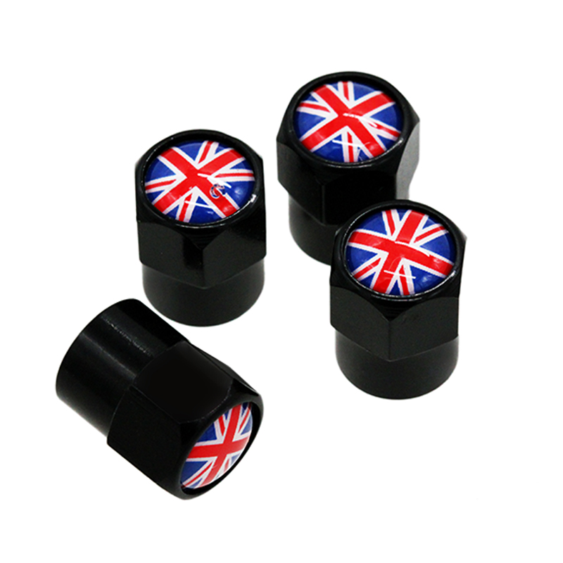 HAUSNN 4Pcs/Pack Car Accessories For Land Rover MINI Jaguar UK England Flag Logo Sticker Wheel Tire Valve Caps Stem Covers