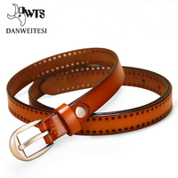 DWTS New Pin Buckle Women Fashion Belts Genuine Leather Belt Woman For Dress Female Straps