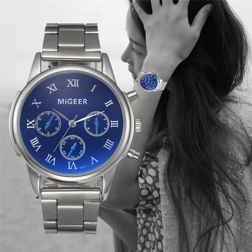 2017 new MIGEER Unisex watch women men lovers' Fashion lady Crystal Stainless Steel Analog Quartz Wrist Watch Bracelet #00 migeer fashion man stainless steel analog quartz wrist watch men sports watches reloj de hombre 2017 20 gift