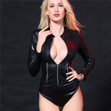 Faux Leather Costumes PU Jumpsuit Sexy Lingerie Latex Bodysuit Temptation Passion Erotic Lingerie Cozy Babydolls Long Sleeve New