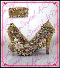 Aidocrystal luxus goldene strass handgemachte blume glitter niedrigen ferse hochzeit schuhe und passende handtasche