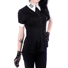 Женские топы с принтом Луны, женская рубашка, Готическая панк черная блузка с v-образным вырезом и пуговицами, женский топ с коротким рукавом, рубашка# G6