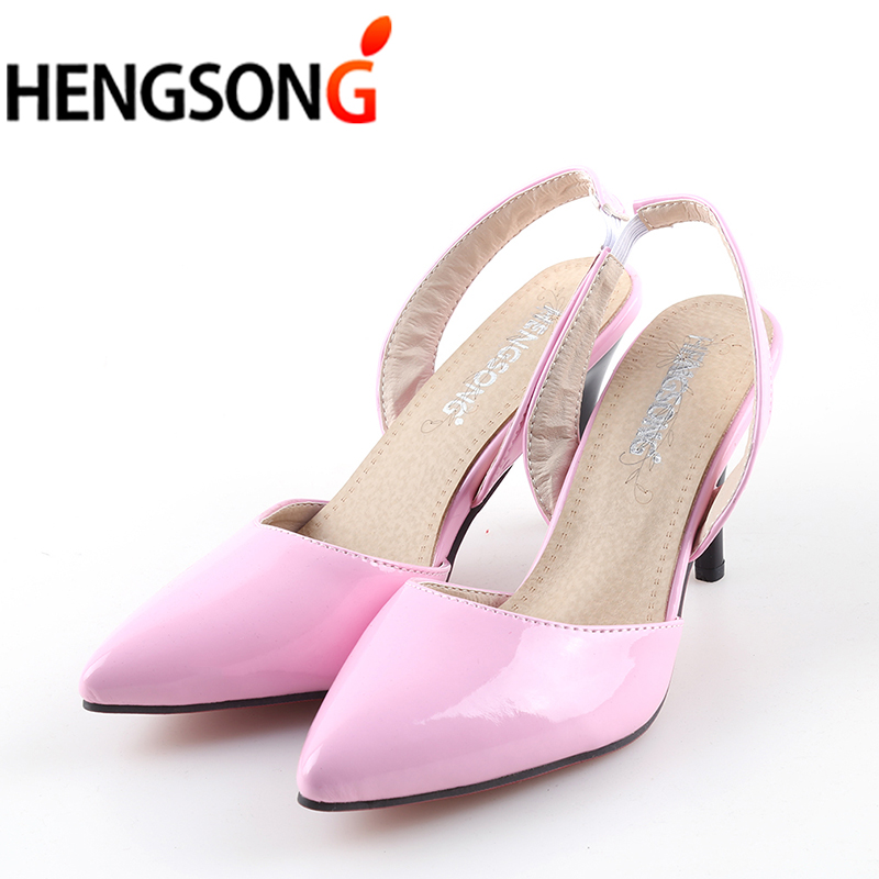 Sexy Pointed Toe Women Pumps Patent Leahter High Heels Pumps Ladies Wedding Party Shoes 2018 New Women's Sandals Thin Heels shoesofdream women s 2015 summer peep pointed toe red anke strap patent leahter sexy spike high heels