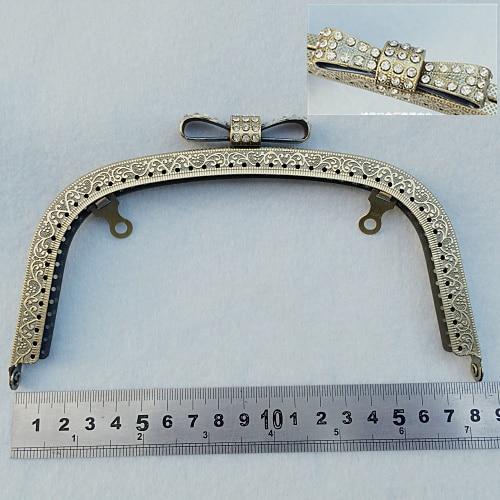 18.5cm Diamond Decoration Buckle Head Metal Purse Frame Clasp Vintage Bronze Golden Gunblack Color 3pcs/lot