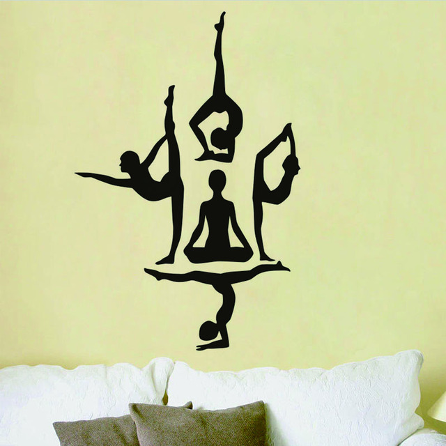 Yoga Poses Silhouette Vinyl Wall Stickers Sport And Health Theme Art Wallpaper Removable Decals Mural
