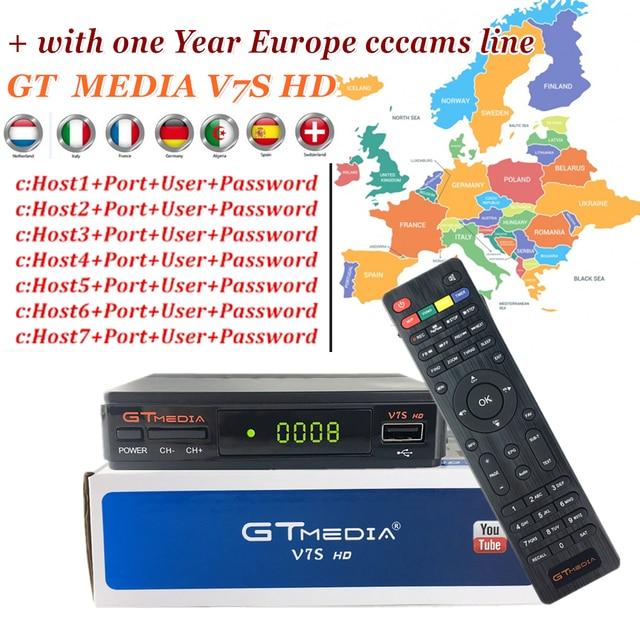 Freesat V7 HD Upgrade GT MEDIA V7S HD Receptor Satellite TV Receiver with 1year Europe Cline for Spain DVB-S2 Satellite Decoder