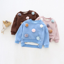 A children's clothing on behalf of 2016 new girls lovely hair ball cotton cashmere sweater with short leisure SY362