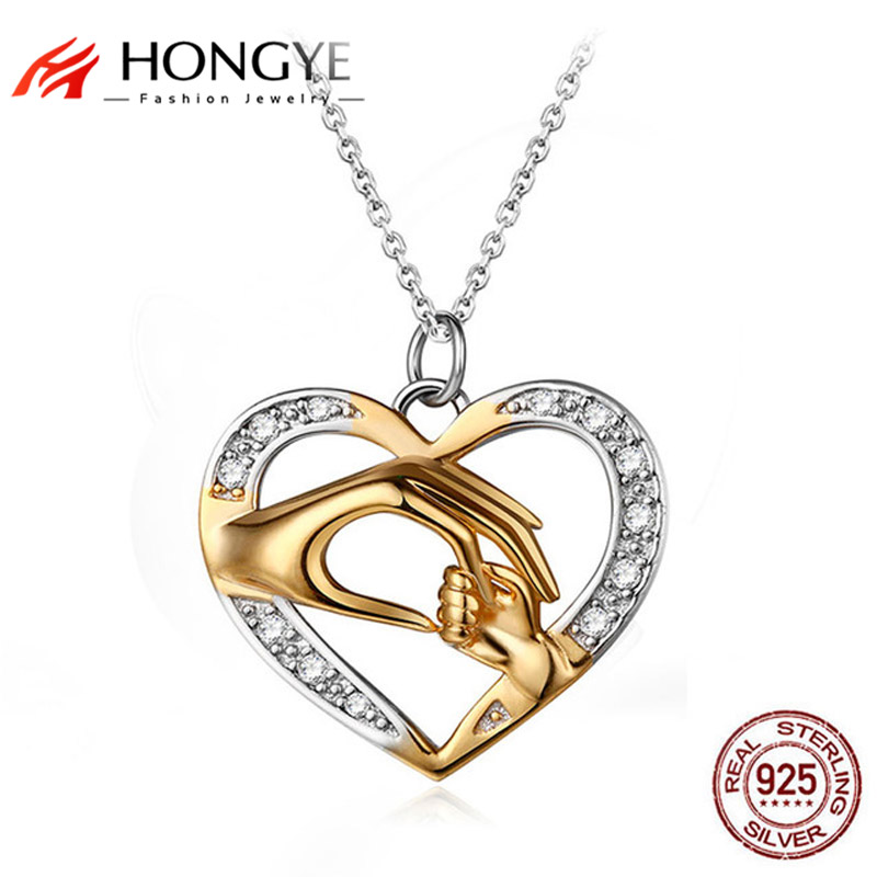 HONGYE Unique Design 925 Sterling Silver Jewelry Hand in Hand Heart Love Necklaces Pendants Mom Loves Baby Best Friend GiftHONGYE Unique Design 925 Sterling Silver Jewelry Hand in Hand Heart Love Necklaces Pendants Mom Loves Baby Best Friend Gift