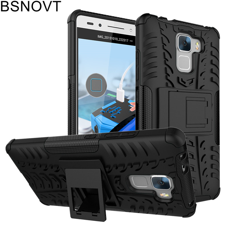 For Huawei Honor 7 Case Soft TPU+ Hard Plastic Phone Holder Anti-knock Cover BSNOVT