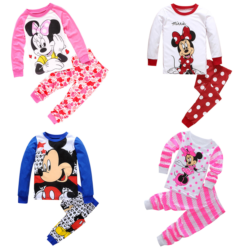 Autum Baby Girl Kids Toddler Baby Girls Anna Elsa Dress Mickey Minnie Mouse Sleepwear Pj's Cartoon Long Sleeve Pajamas Sets