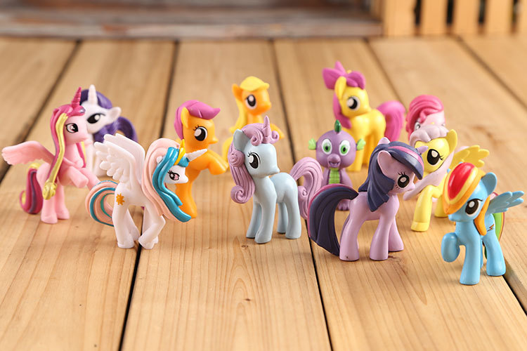 12 pieces / set 7cm little pvc Toy Figures Princess Celestia luna BIG Unicorn horse plush doll