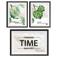 Time Wall Decor wall picture sticker Prints Painting Wall Art 3D False Picture Frame 3 Couplet Painting On The Wall Posters(China)