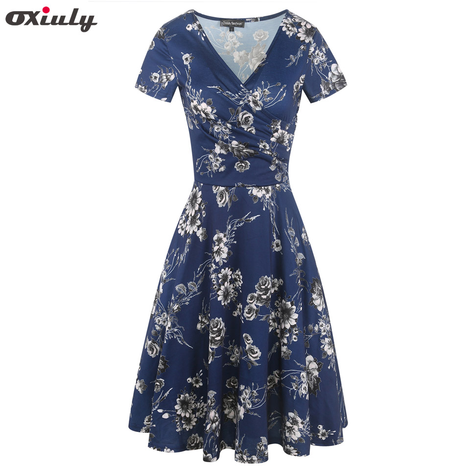 Oxiuly Summer Dress Women Elegant Casual Dresses Floral Print Vintage A-line Short Sleeve Party Dress vestidos