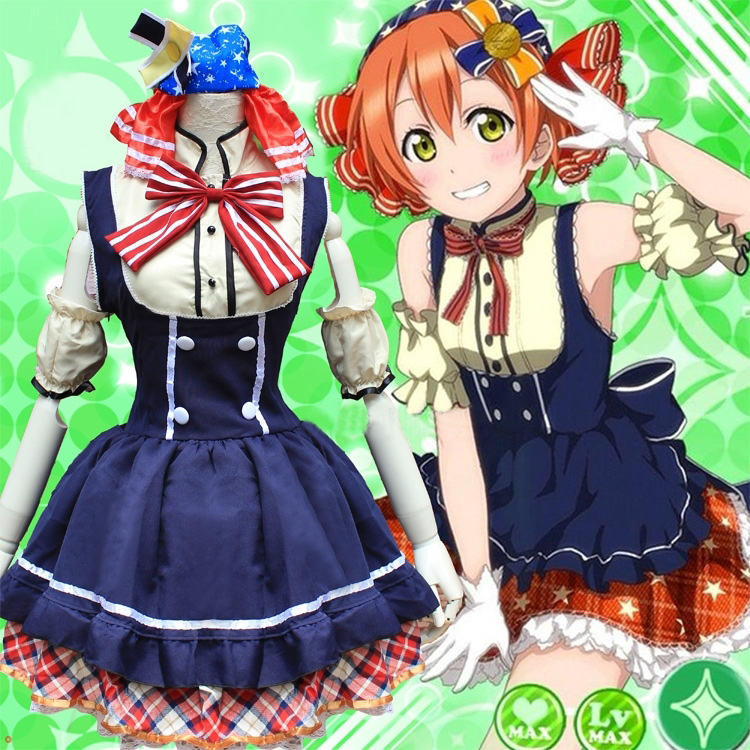 Love Live Rin Hoshizora Candy Maid Uniform Cosplay Costume Princess Lolita Dress ( Dress + Headwear + Bow tie + Oversleeve )