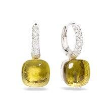 SLJELY 23 kolory Faceted Crystal Candy kwadratowe kolczyki 3 złoty kolor wkładka cyrkon CZ kropla wody kolczyki moda kobiety biżuteria