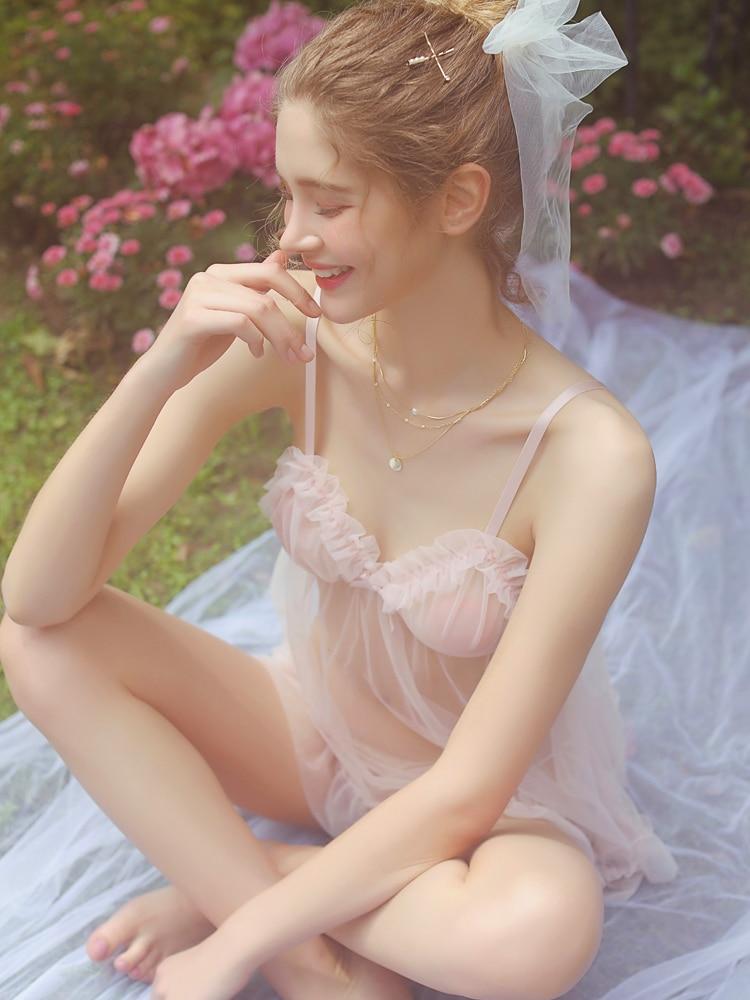 New sexy sleepwear women summer pink fairy cute ultra thin mesh transparent comfortable nightdress suit in Robe Gown Sets from Underwear Sleepwears