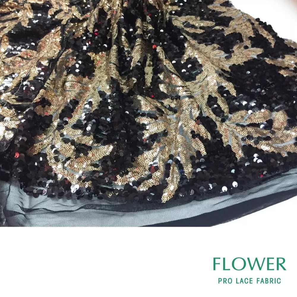 Золотая и Черная кружевная ткань в нигерийском стиле, расшитая блестками, вечерние платья, 2018 высококачественные блестки, сетка для свадьбы