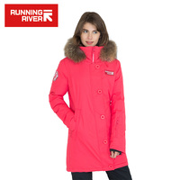 RUNNING RIVER Brand Women Hooded Mid Thigh Down Jackets Solid Color High Quality Warm Winter Sport