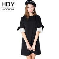 Haoduoyi 2016 Summer New Arrival Women Bow Sleeve Casual Elegant Vestidos Summer Ladies Black Dress