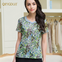 New Silk Mesh Exquisite Silk Double Short Sleeved Hot Drilling Collar Knitted Garment
