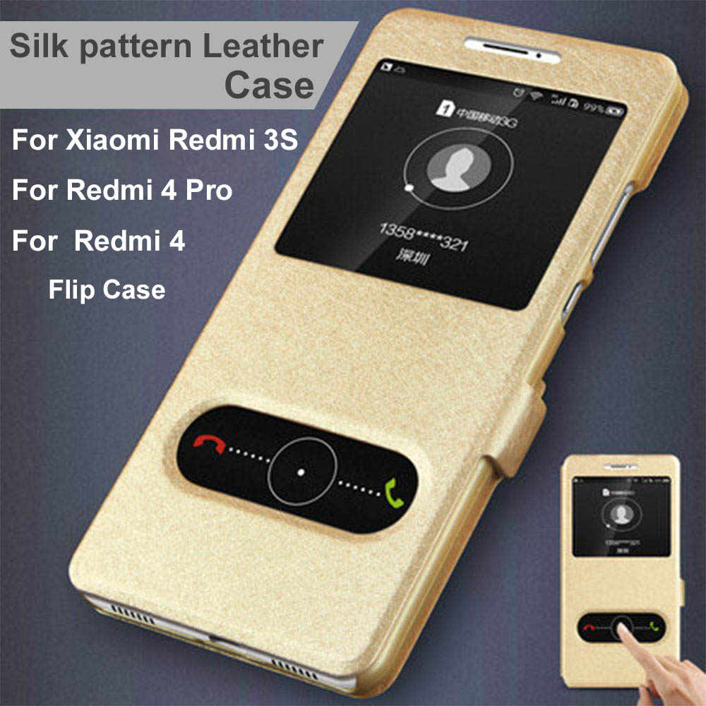 UTOPER Đối Với Xiaomi Redmi 4 Pro Trường Hợp Lật Bìa Luxury Window Xem Silk Pattern PU Leather Trường Hợp Đối Với Xiaomi Xiomi Redmi 3 S 4 Bìa