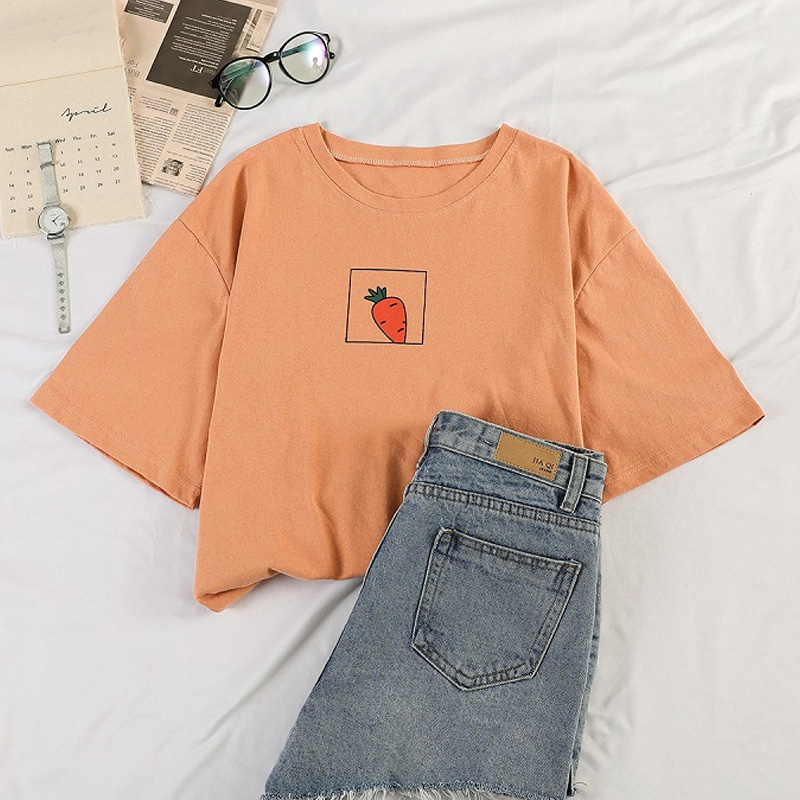 90s girl Fashion   T     Shirt   Women Kawaii carrot Print Short Sleeved O-neck   T  -  shirts   Vintage Ullzang Tshirt Harajuku Top Tees Female