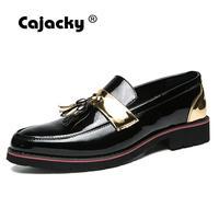 Cajacky Men Tassel Dress Shoes Male Sequin Leather Loafers Men Nightclub Mocasines Hombre Slippers Men Slip