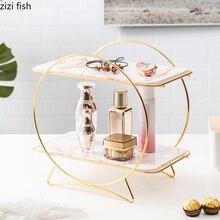 Керамика двойной слой стеллаж для хранения рабочего стола косметические аксессуары торт гостиная спальня творческий Европейский стиль украшения